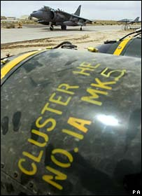 Cluster bombs at UK air force base in Kuwait