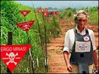 Diana Princess of Wales in Angolan minefield in 1997