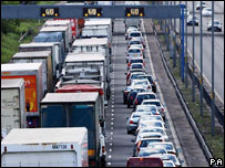 Traffic congestion on the M6 near Wolverhampton