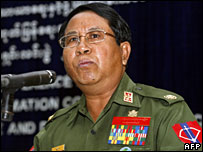 Burma's Information Minister Brigadier General Kyaw Hsa speaking at a press conference in Naypyidaw (3/12/2007)