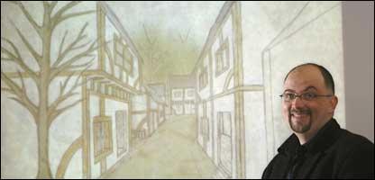 Prof Castronova and artwork for Arden, University of Indiana
