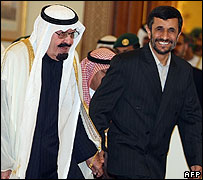 Mahmoud Ahmadinejad and King Abdullah of Saudi Arabia