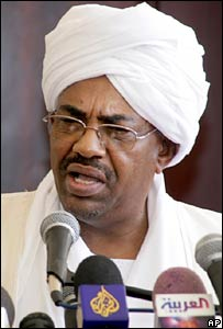 Sudan's President Omar al-Bashir speaks in Khartoum after pardoning Gillian Gibbons
