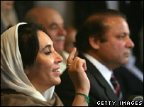Pakistani opposition leaders Benazir Bhutto and Nawaz Sharif