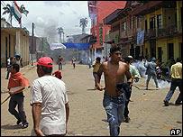 Protesta en Cobija, Bolivia, el viernes, 30 de noviembre, de 2007