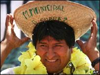 Evo Morales, presidente de Bolivia, en Puerto Suárez, el viernes 30 de noviembre, de 2007