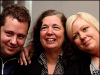 Gillian Gibbons (centre) with her son John (left) and daughter Jessica (right)