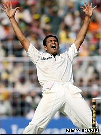 Anil Kumble celebrates
