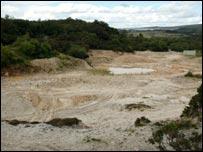 View of the exposed Hemerdon mine area