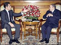 Nicolas Sarkozy (left) with Algerian President Abdelaziz Bouteflika, 4 Dec 07