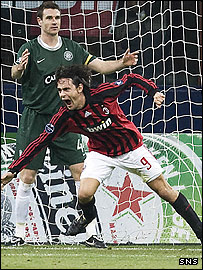 Filippo Inzaghi celebrates his winning goal