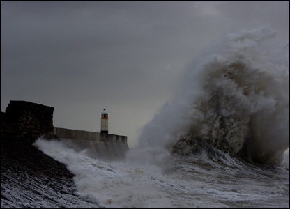 Nick Russell took this picture of a storm lashing a sea wall in Porthcawl.