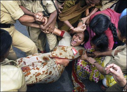 A Working Women's Forum activist of the All India Trade Union Congress in Hyderabad.