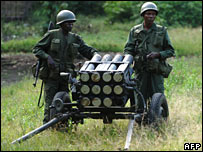 Army soldiers with munitions at roadside near Sake in E DR Congo