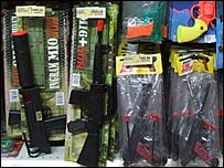 Some of the toy guns on display in Madagascar