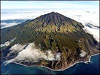 Aerial picture of Tristan da Cunha