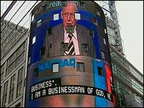 Ian Paisley on the Nasdaq's seven storey video screen