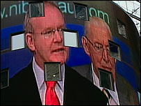 Martin McGuinness and Ian Paisley on the Nasdaq's seven storey video screen