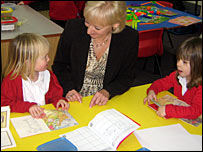 head teacher and pupils in reception classroom