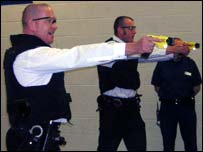 Police officers undergoing Taser training