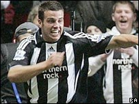 Steven Taylor celebrates scoring for Newcastle