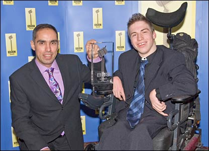 Boccia player David Smith with Michael Vincent of Jasper & Vincent