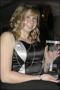 Tennis player Louise Hunt with the BBC West award