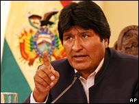 Bolivian President Evo Morales makes an address on 5 December