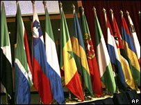 Flags of participating EU and African states