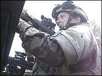 Soldier keeps watch