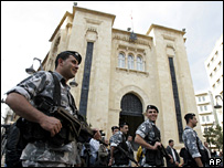 Troops outside the Lebanese parliament in Beirut (file)