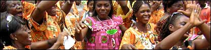 Women dancing to Makossa music in Cameroon