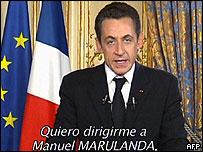 Nicolas Sarkozy en su mensaje a las FARC.
