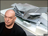 Jean Nouvel presents a model of his project for a new philharmonic concert hall in Paris, 12 April 2007