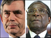 Gordon Brown and Robert Mugabe