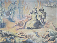 Mural depicting Shining Path atrocities