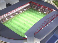 An artist's impression of Brentford's proposed new stadium