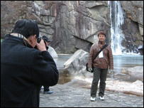 Tourists at Kaesong waterfall