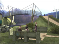 Artist's impression of the bridge in Treforest