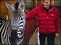 Gill with Toto the zebra