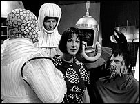 Verity Lambert (centre) with Doctor Who creatures in 1965