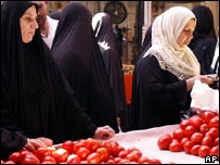Women shopping in Dora market
