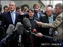Kieren Fallon surrounded by reporters after his acquittal