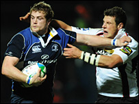 Edinburgh's David Callam (right) and Leinster's Jamie Heaslip