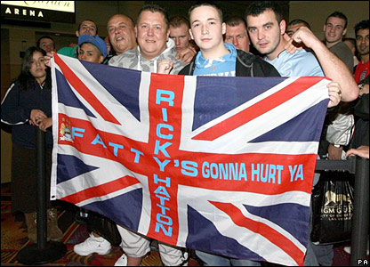 Ricky Hatton fans wait in line ahead of Friday's weigh-in for his fight against Floyd Mayweather in Las Vegas