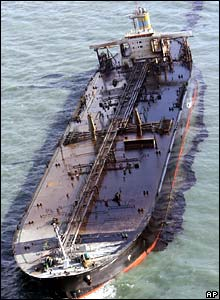Oil tanker Hebei Spirit after collision
