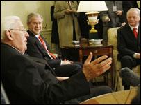 (L-R) Ian Paisley, George W Bush, Martin McGuinness
