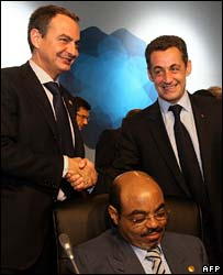Spanish PM Zapatero, Ethiopian PPM Zenawi and French President Sarkozy