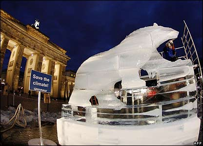 An ice sculpture of a polar bear in the German capital, Berlin, draws attention to climate change