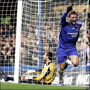 Andriy Shevchenko celebrates scoring for Chelsea
